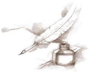 plume d'écrivain dessin au crayon papier